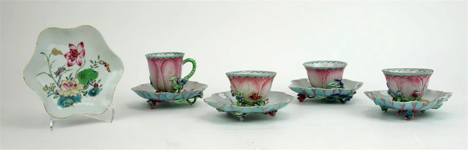"Chinese Famille Rose ""Lotus\"" Tea Bowls and Saucers"