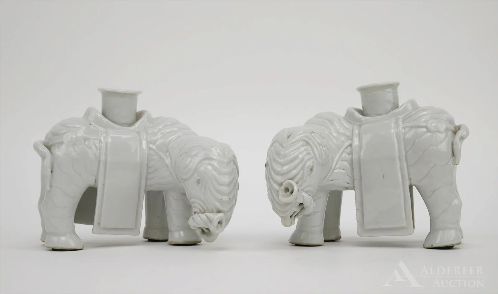 Pair of Blanc De Chine Elephant Candleholders
