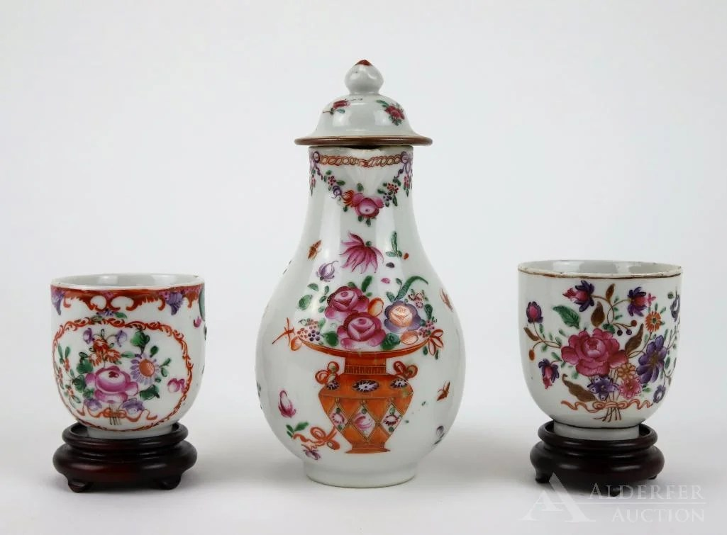 Chinese Export Porcelain Covered Pitcher
