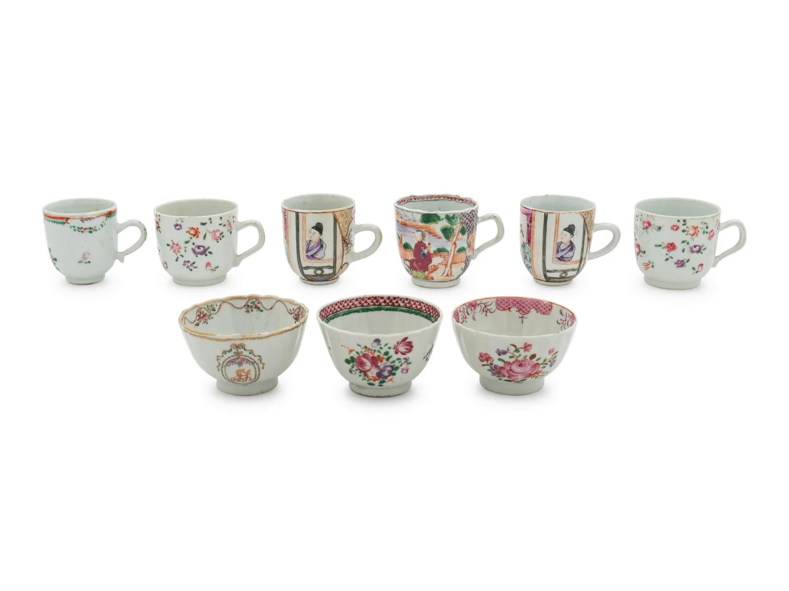 A Group of Nine Chinese Export Famille Rose Porcelain