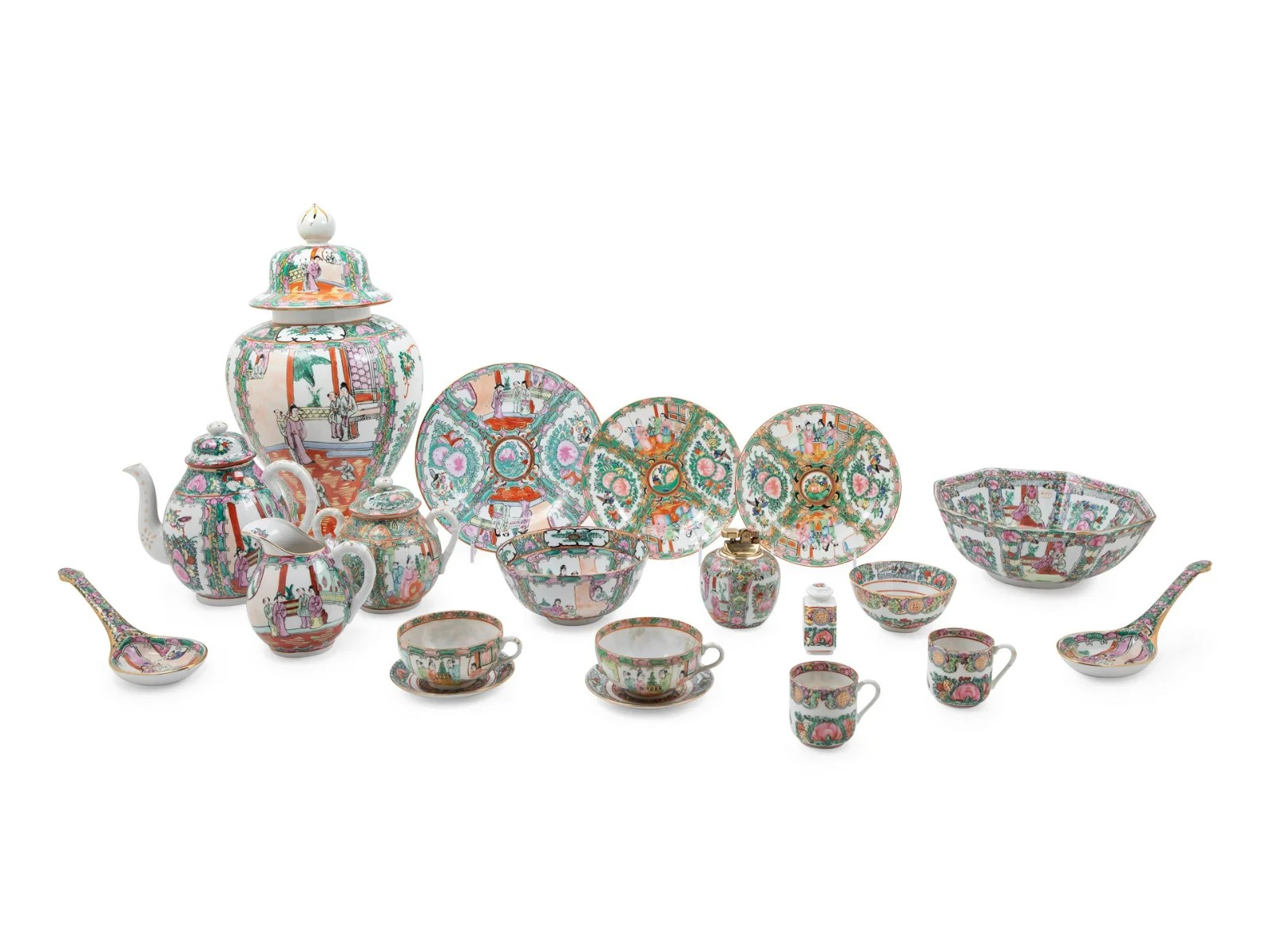 A Large Collection of Chinese Export Rose Medallion