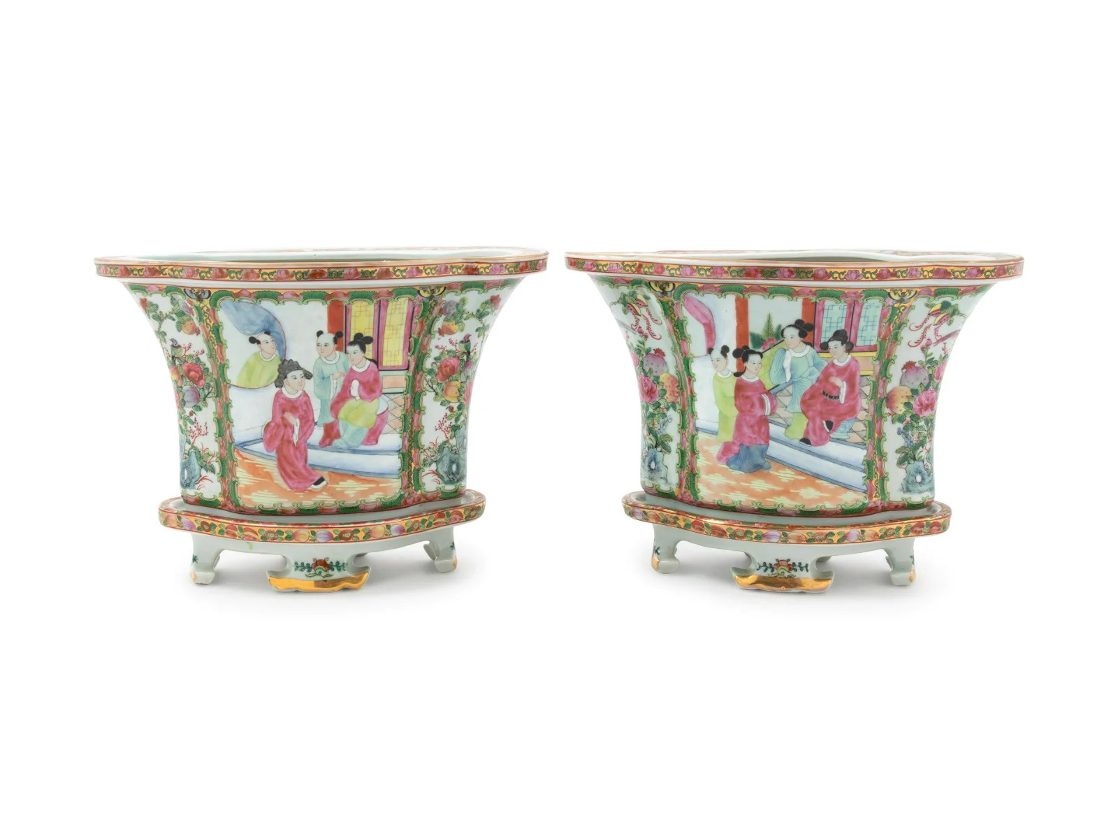 A Pair of Chinese Rose Medallion Porcelain Jardinieres