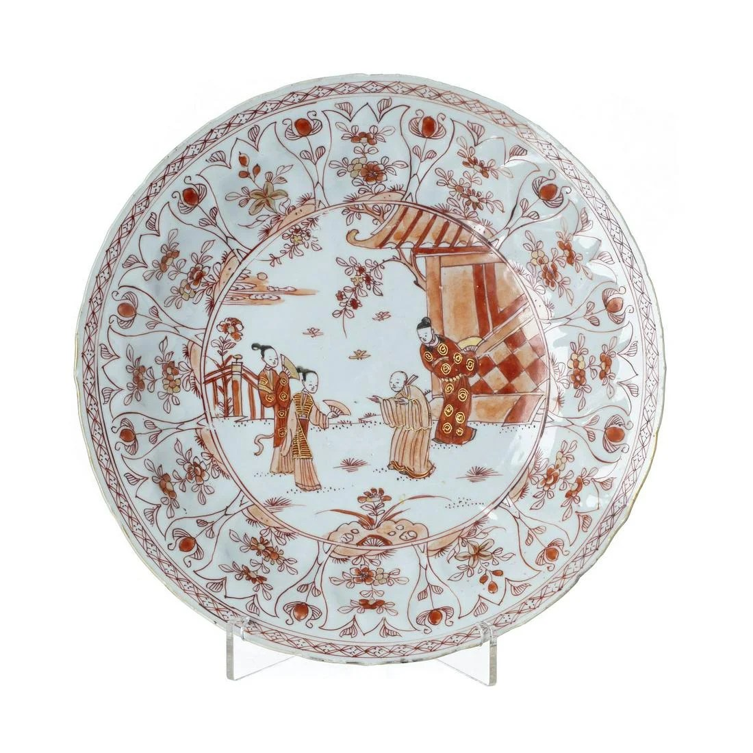 Chinese coral porcelain plate, Kangxi