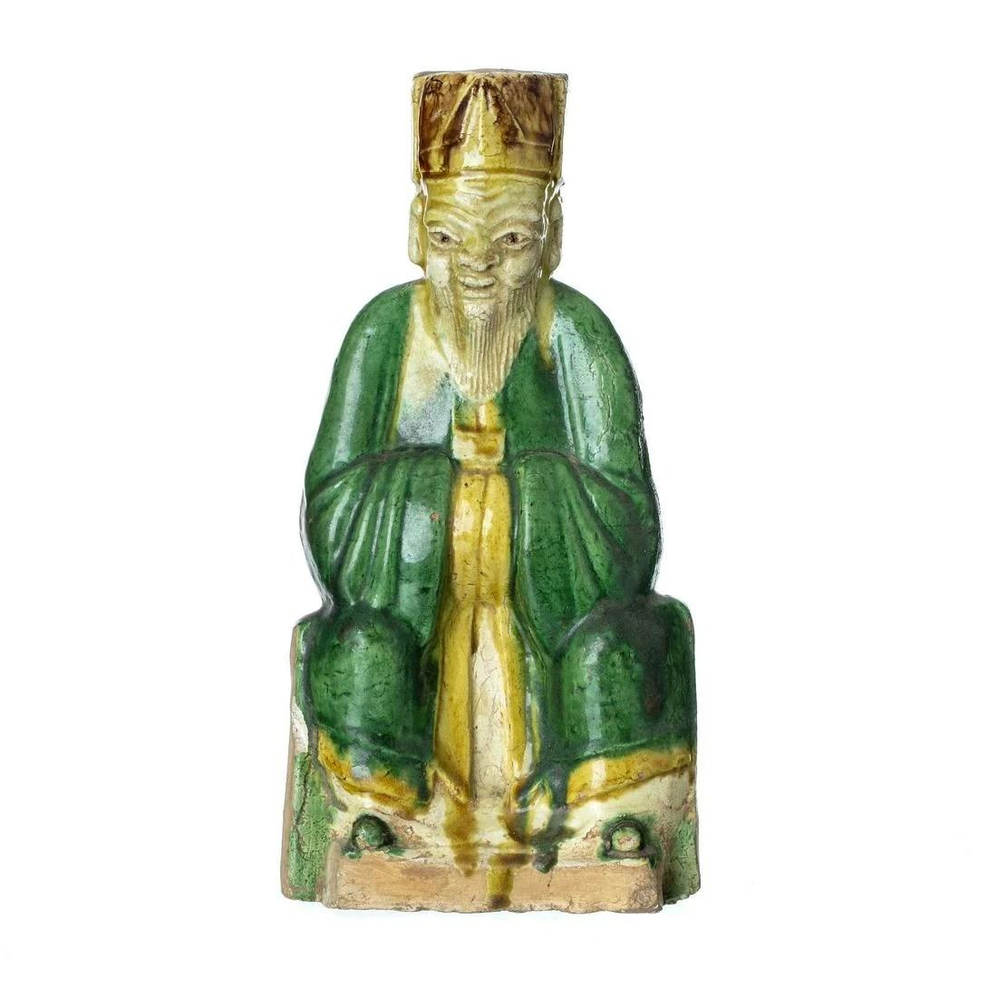 Sancai Ceramic dignitary figure, Ming