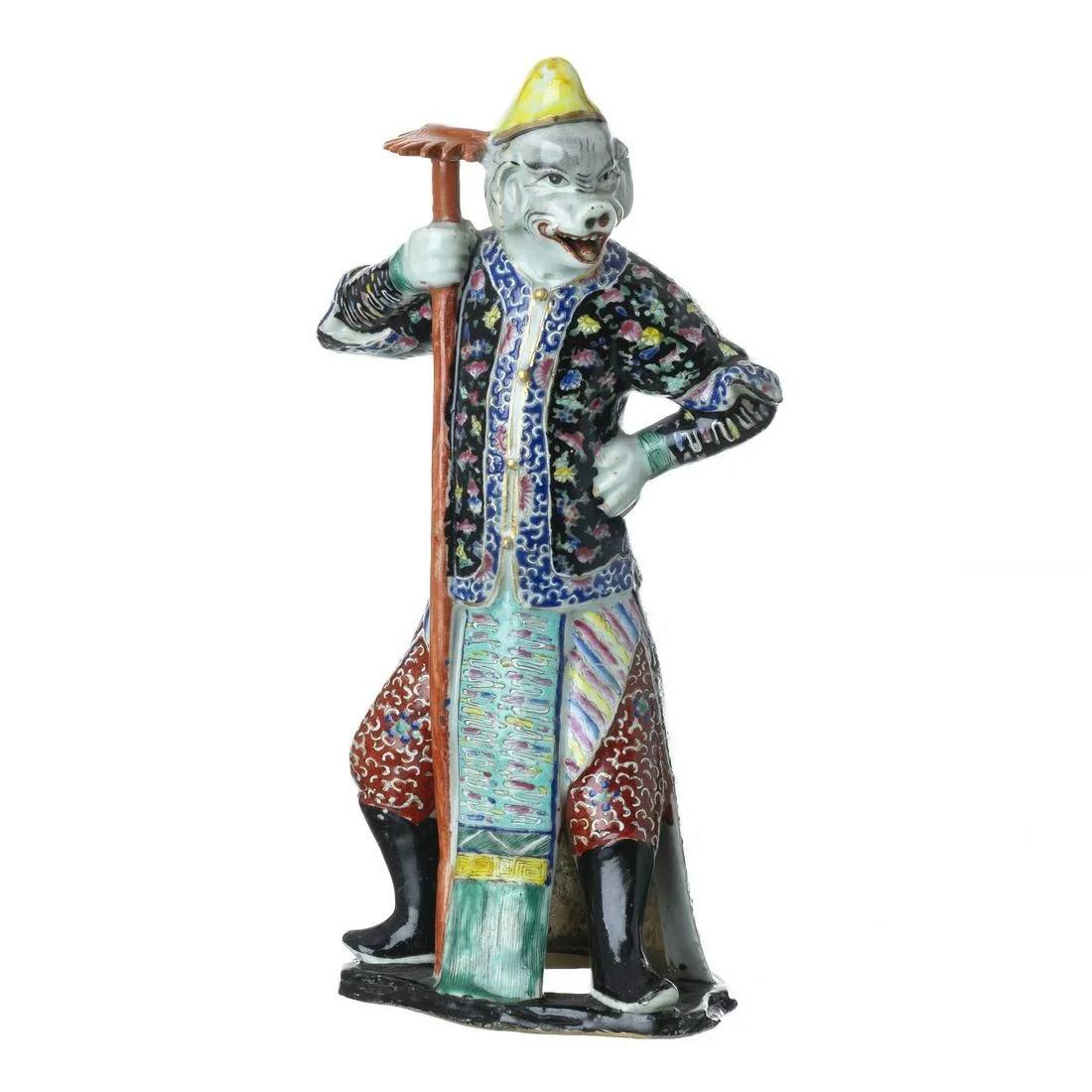 Chinese porcelain boar face deity, Tongzhi