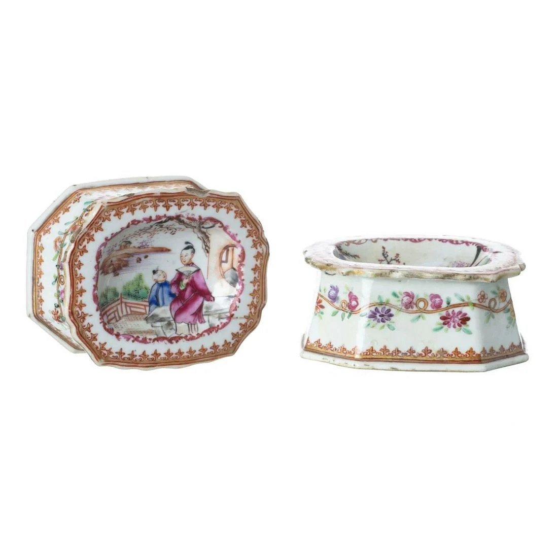 Pair of Mandarin Chinese Porcelain Salt Cellars,