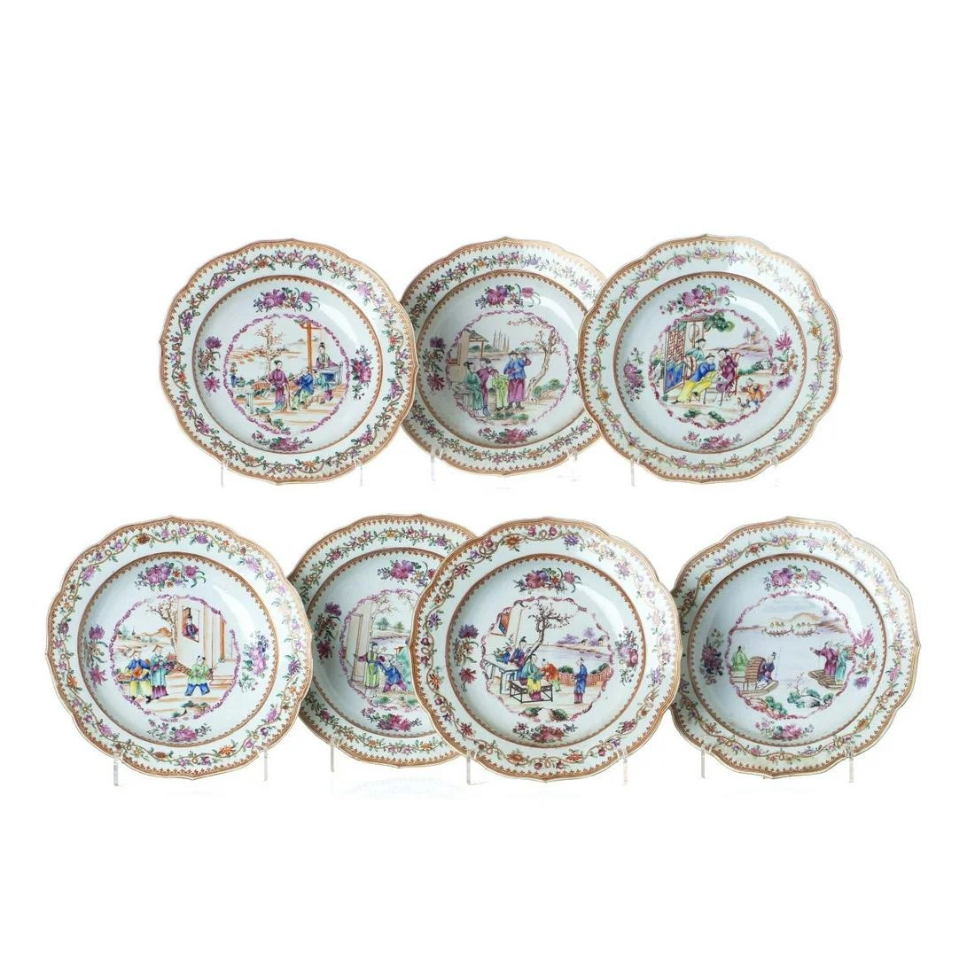 Seven soap 'Mandarin' plates in Chinese porcelain,