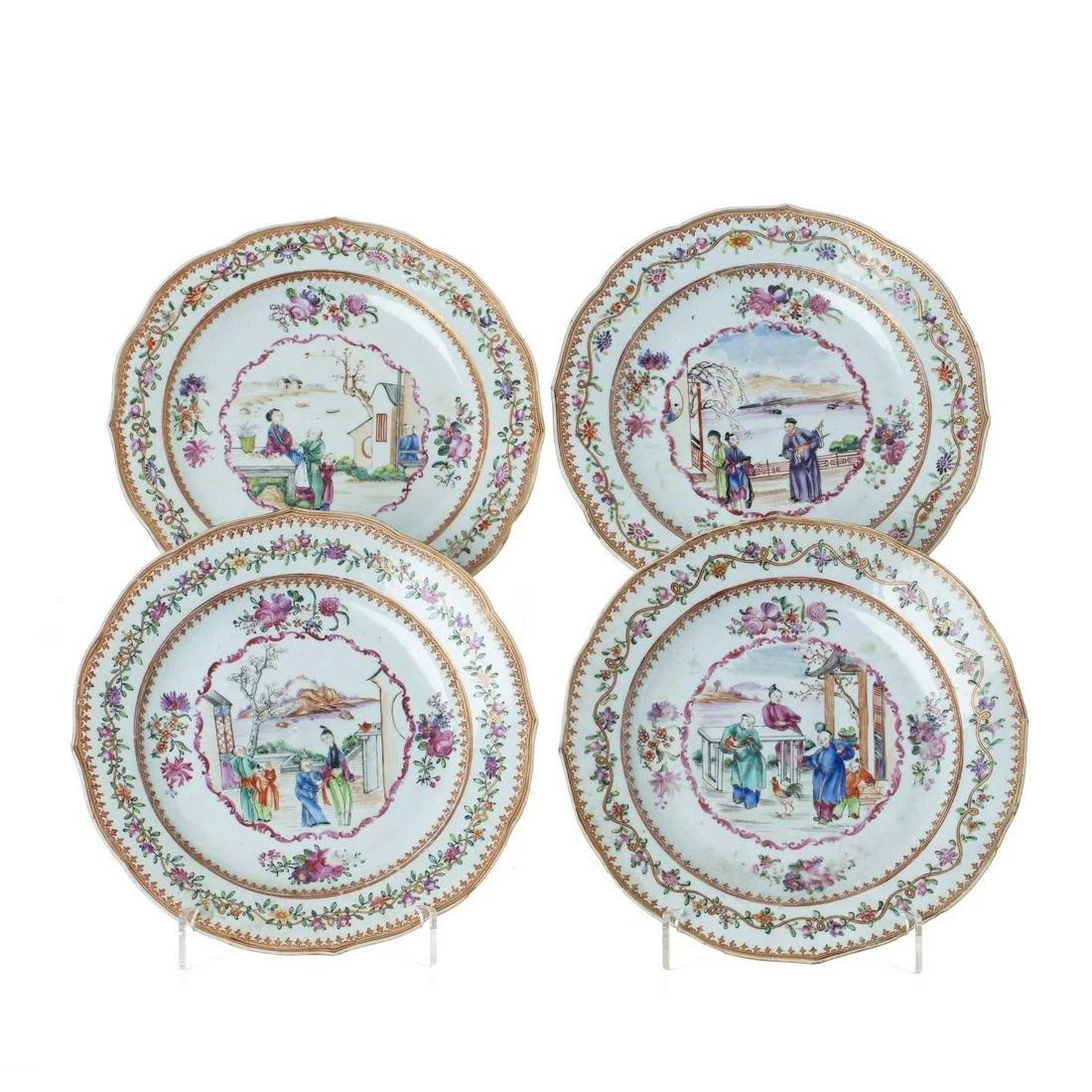 Four 'Mandarin' plates in Chinese porcelain, Qianlong