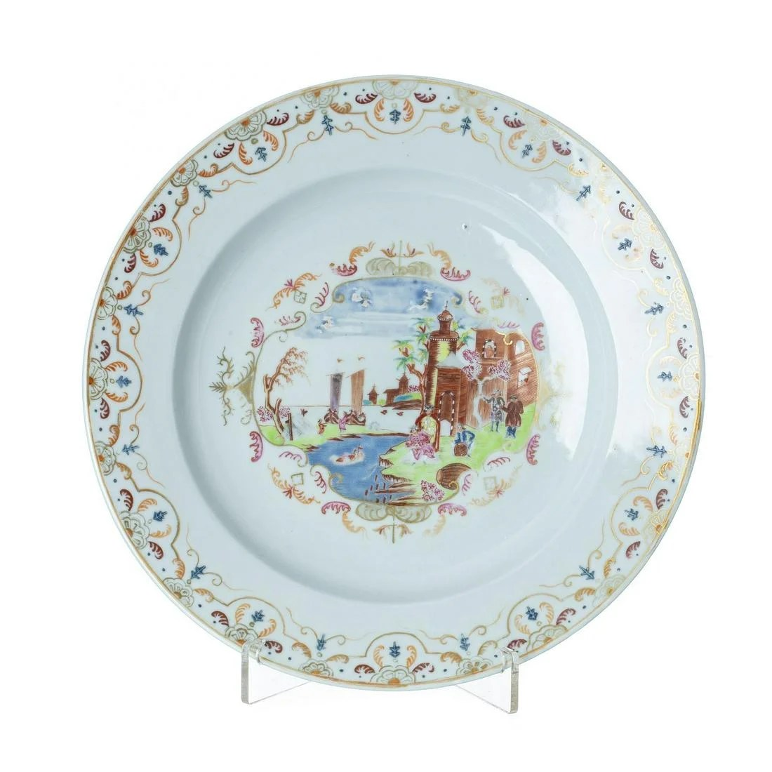 Large Chinese export Meissen type plate, Qianlong