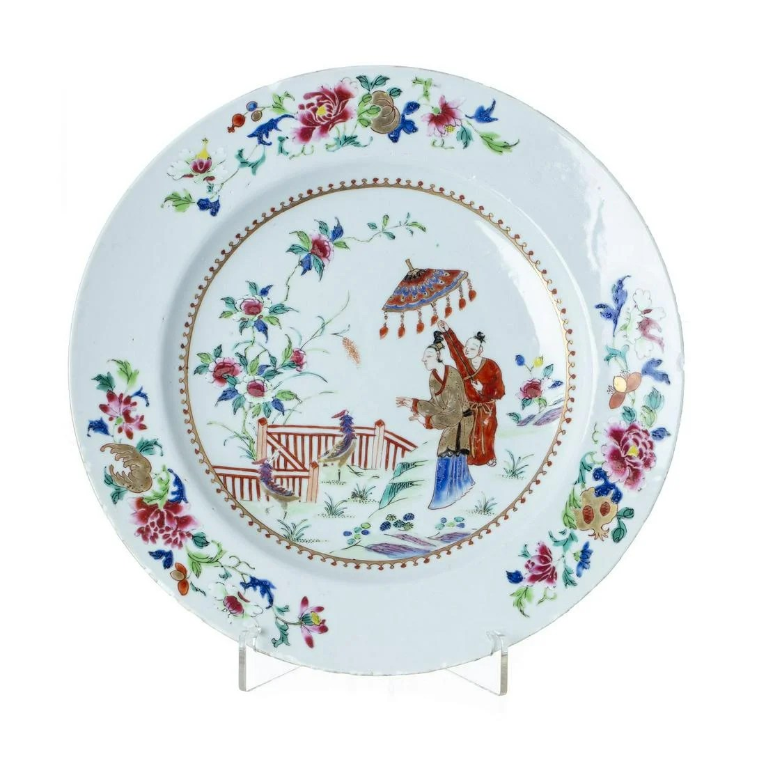 Large Chinese porcelain Dame au Parasol plate