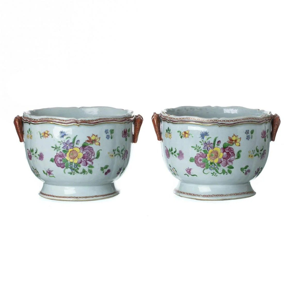 Pair of Chinese porcelain famille-rose wine coolers,