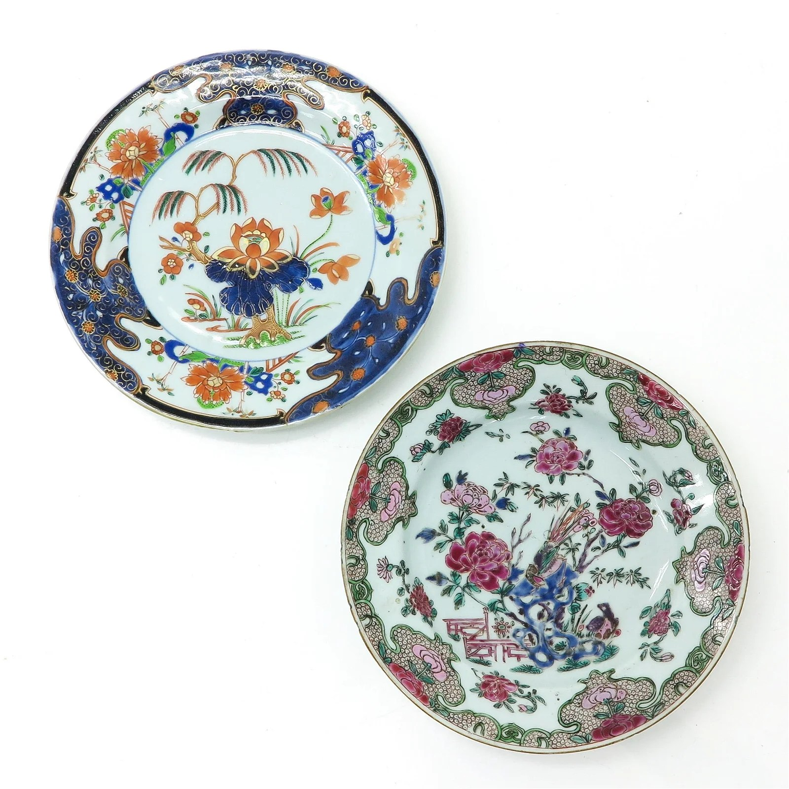 A Famille Rose and Imari Plate