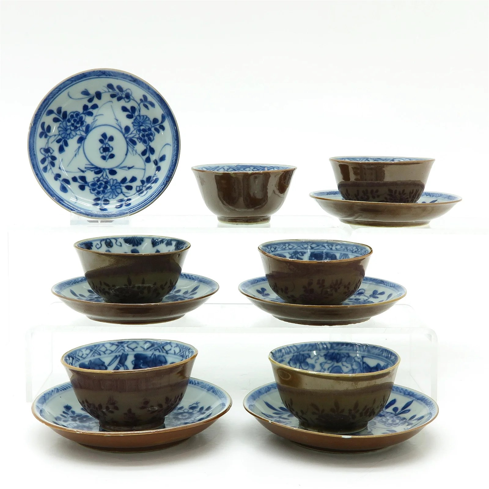 Six Chinese Batavianware Cups and Saucers
