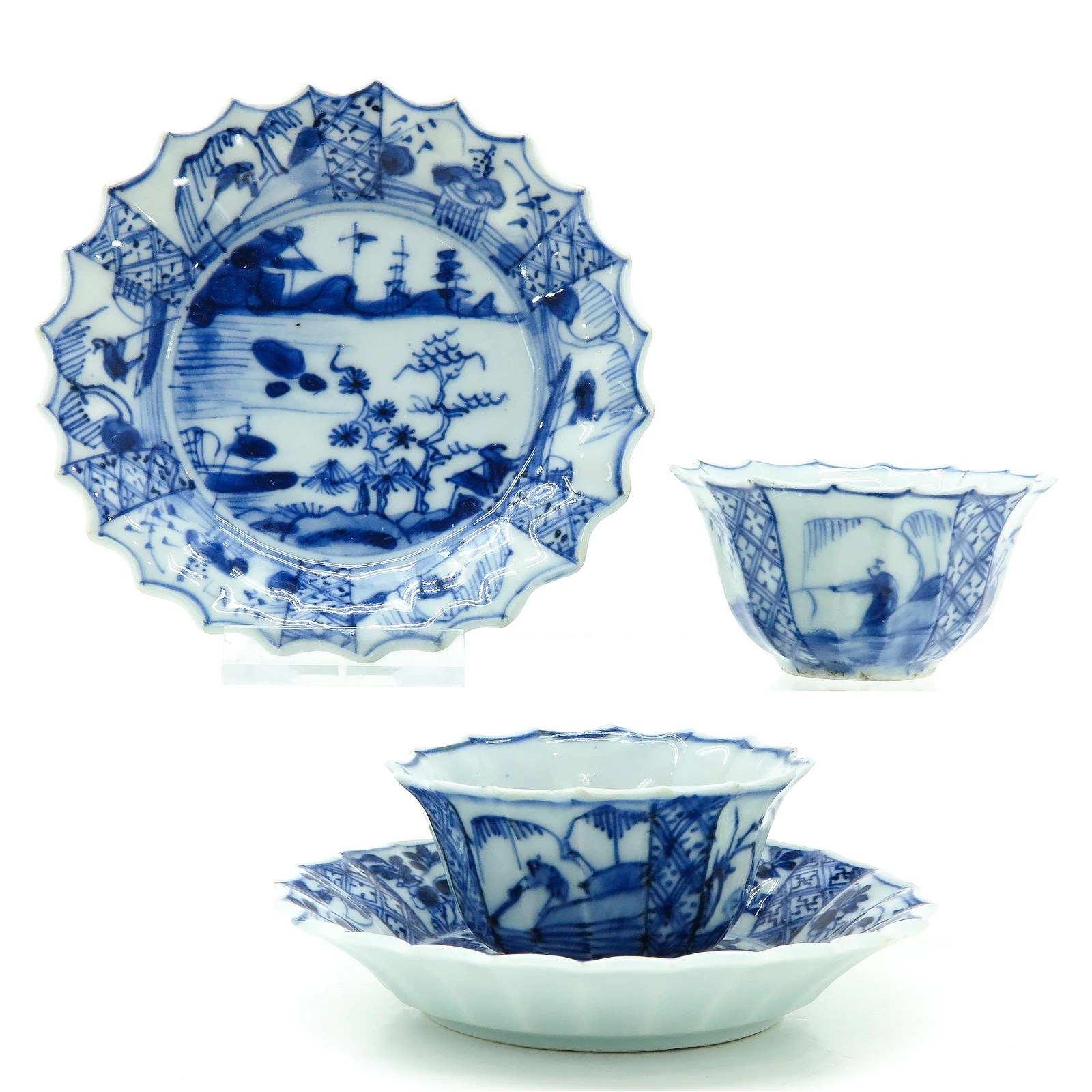 Two Chinese Cups and Saucers