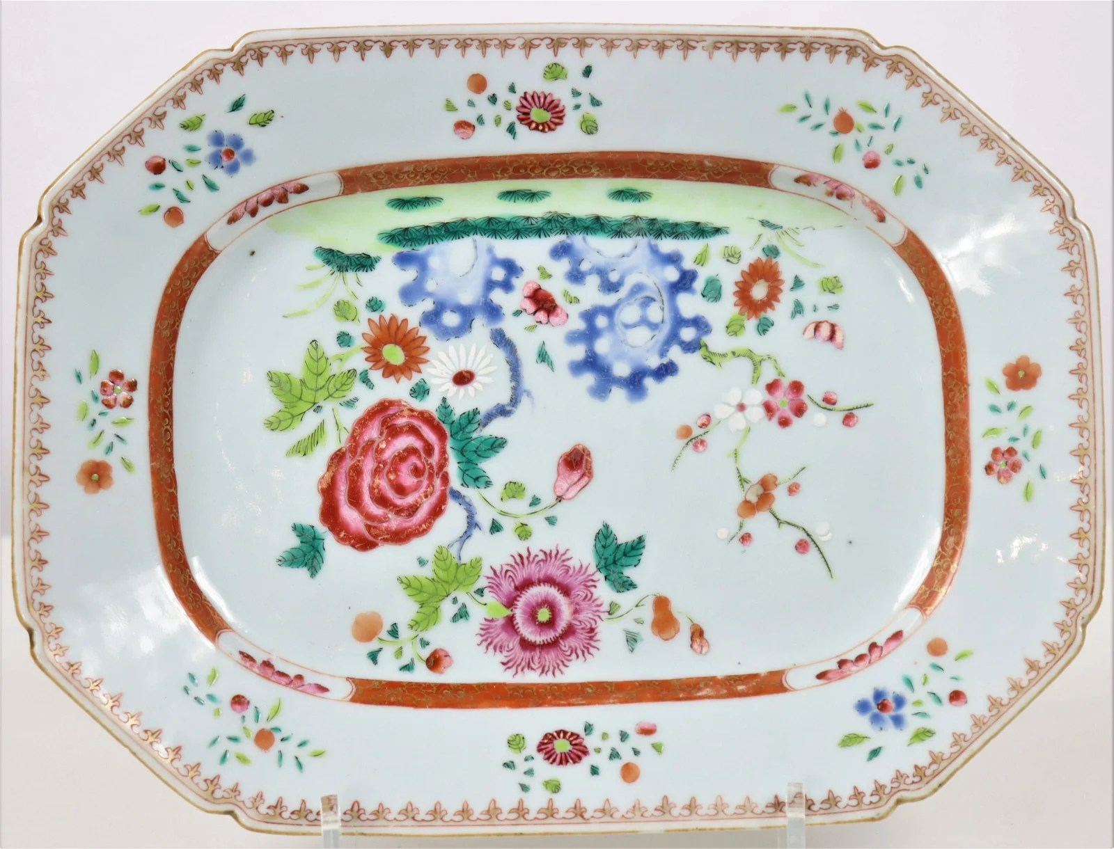 19th C Chinese Export Porcelain Famille Platter