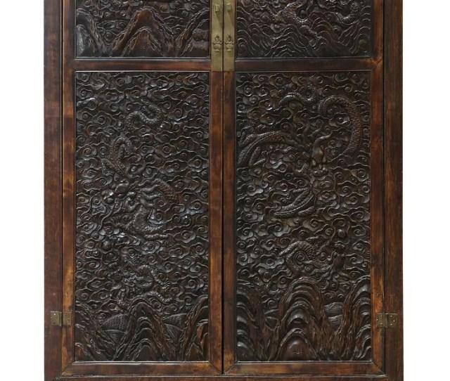 Chinese Hardwood Dragon Cabinet