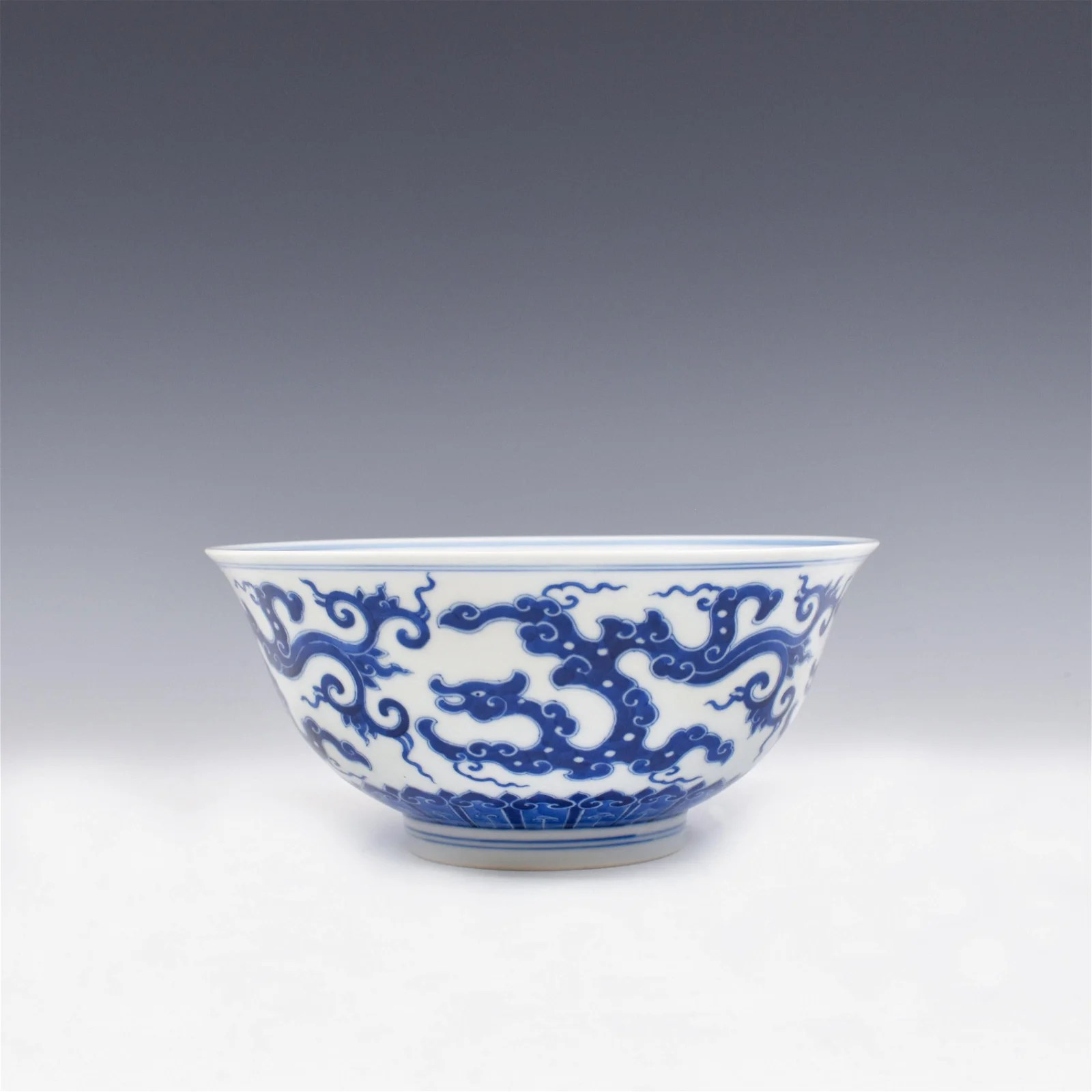 KANGXI BLUE AND WHITE DRAGON BOWL