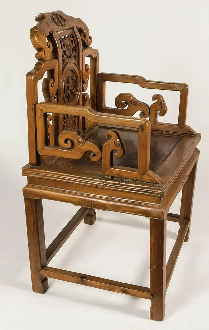 CHINESE ARMCHAIRVery finely carved back, with figures