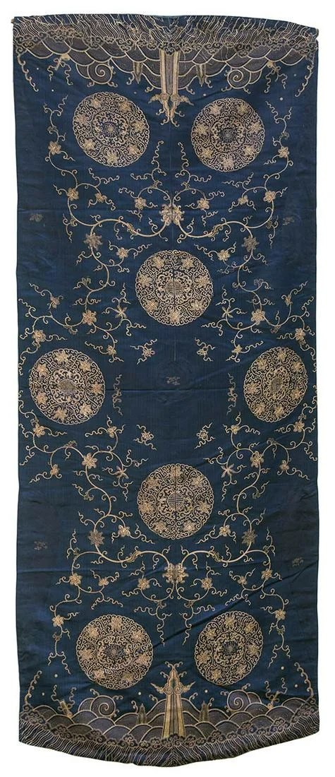 CHINESE TABLE COVER, AND BED COVERRare early 19th c.