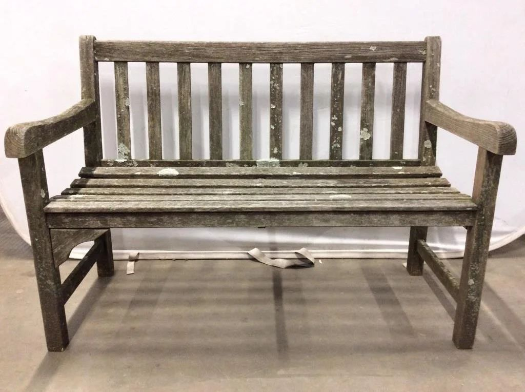 smith hawken teak outdoor wooden bench