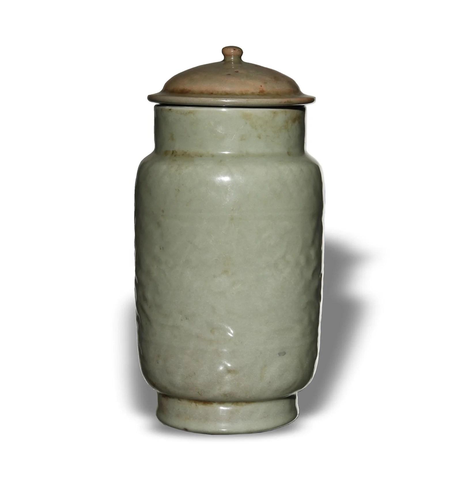 Chinese Celadon Longquan Jar, Ming Dynasty