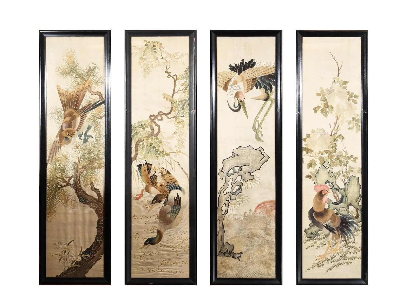 Set of 4 Framed Chinese Embroideries, 19th Century