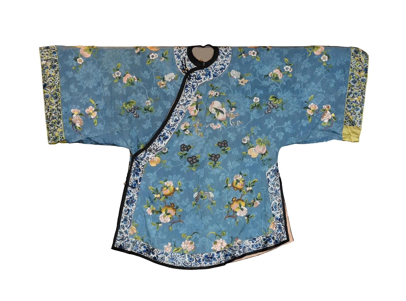 Chinese Blue Ground Embroidery Lady's Robe, 19th