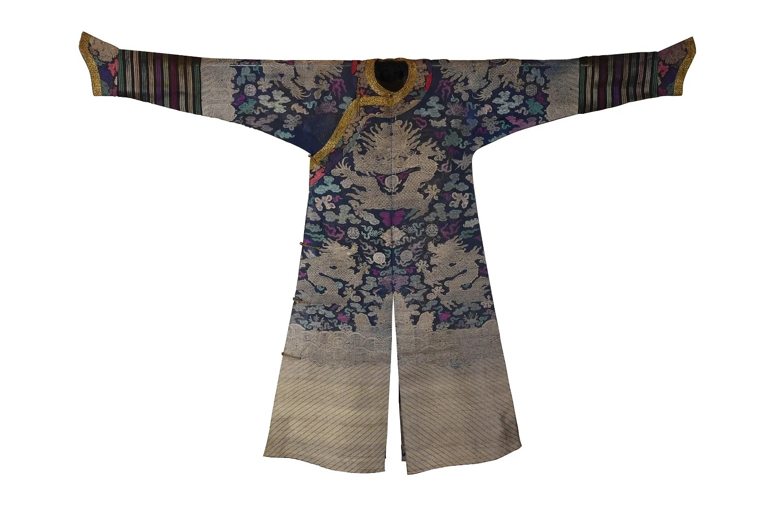Chinese Blue Summer Dragon Robe, 19th Century