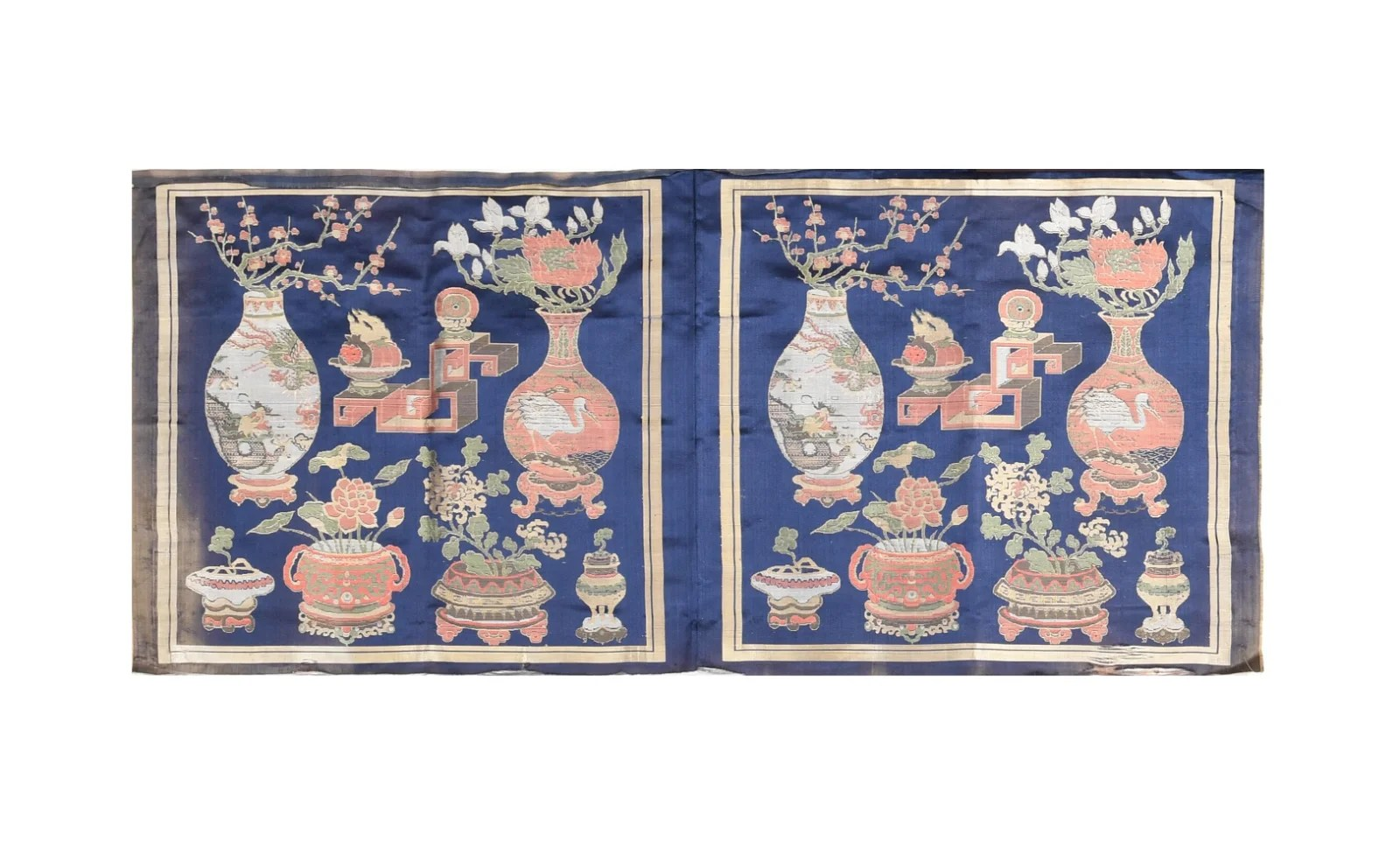 Chinese Embroidery of the Hundred Antiques, 19th