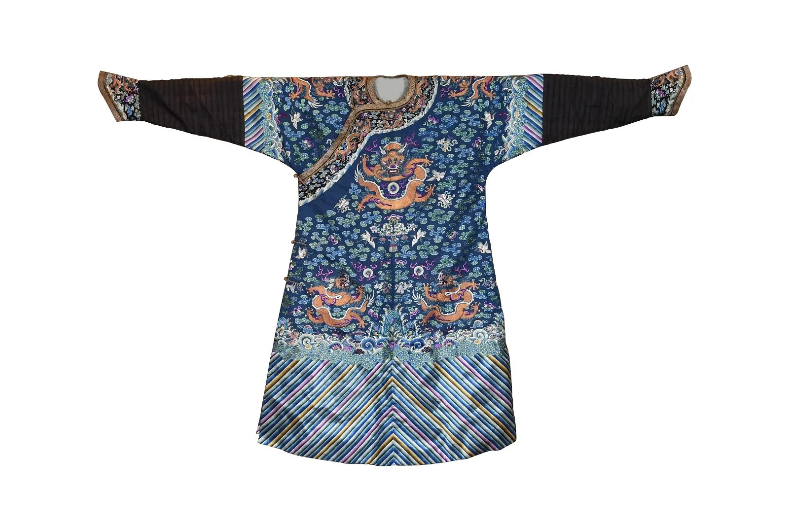 Chinese Blue Ground Dragon Robe, Early 19th Century