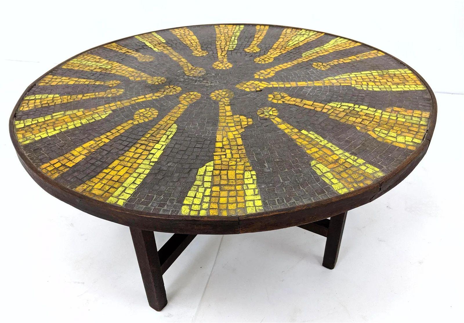 round mid century tile top mosaic