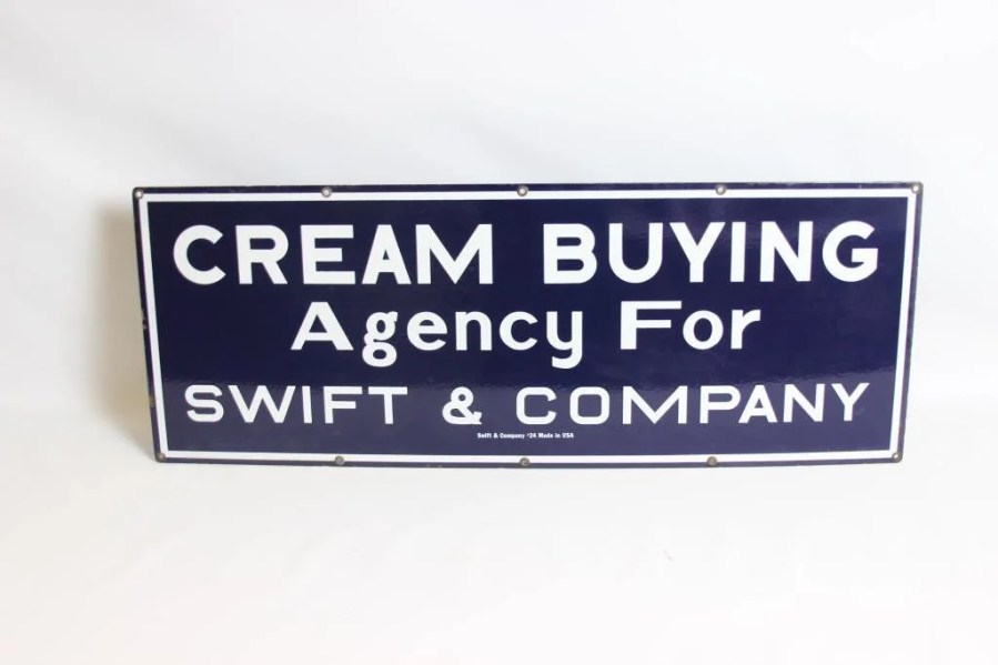 Cream Buying Agency For Swift   Co  Porcelain Sign