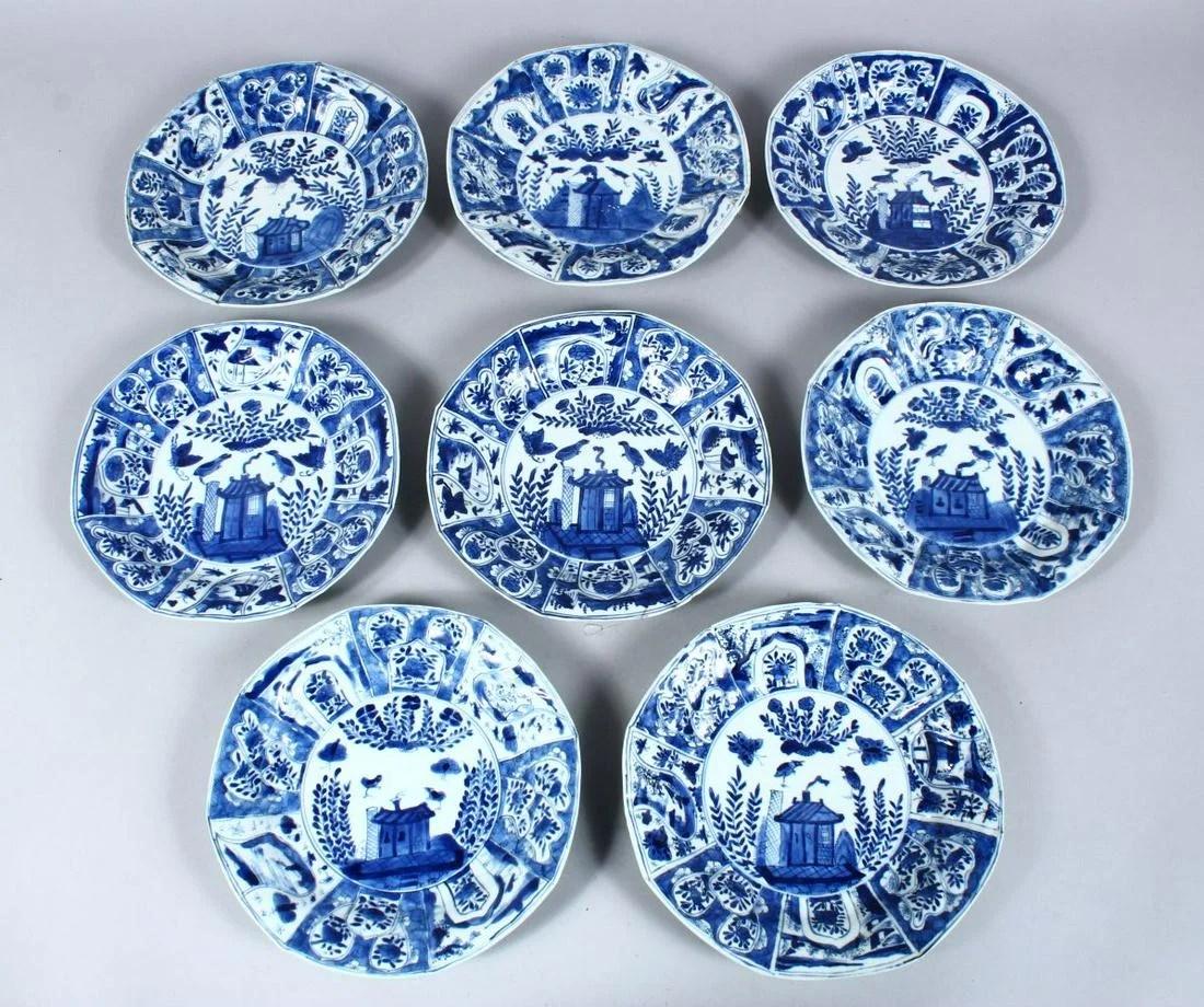 EIGHT CHINESE 18TH CENTURY KANGXI PORCELAIN BLUE &