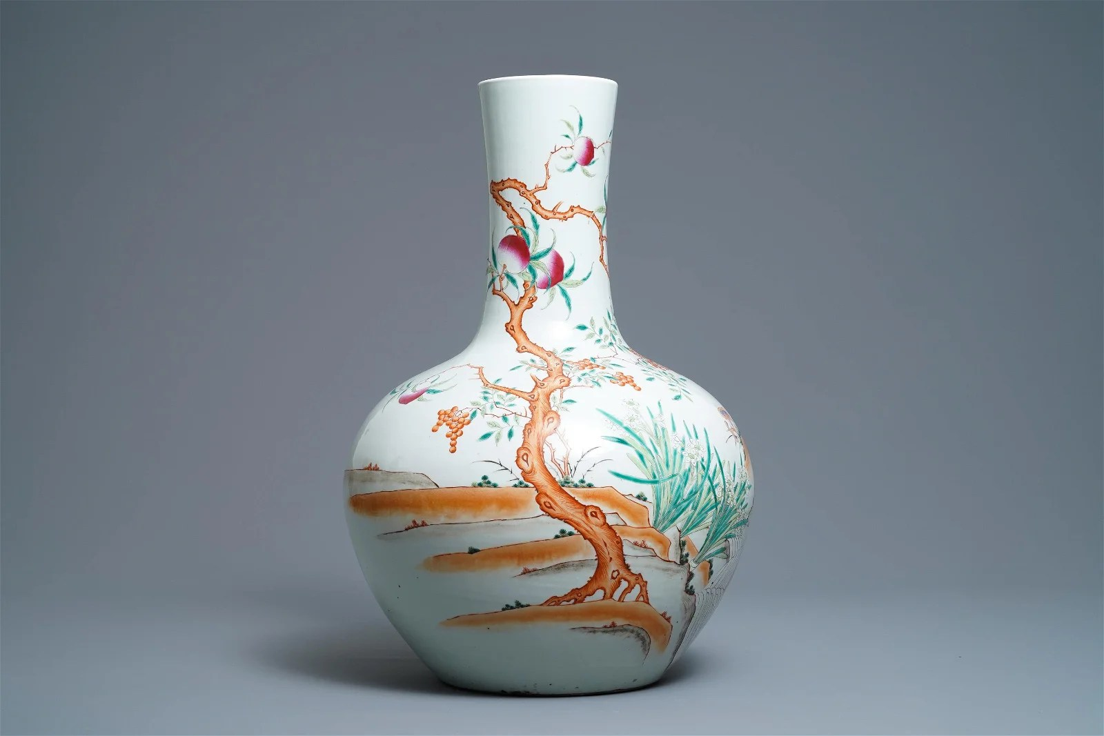 A Chinese famille rose 'peaches' vase, Qianlong mark,