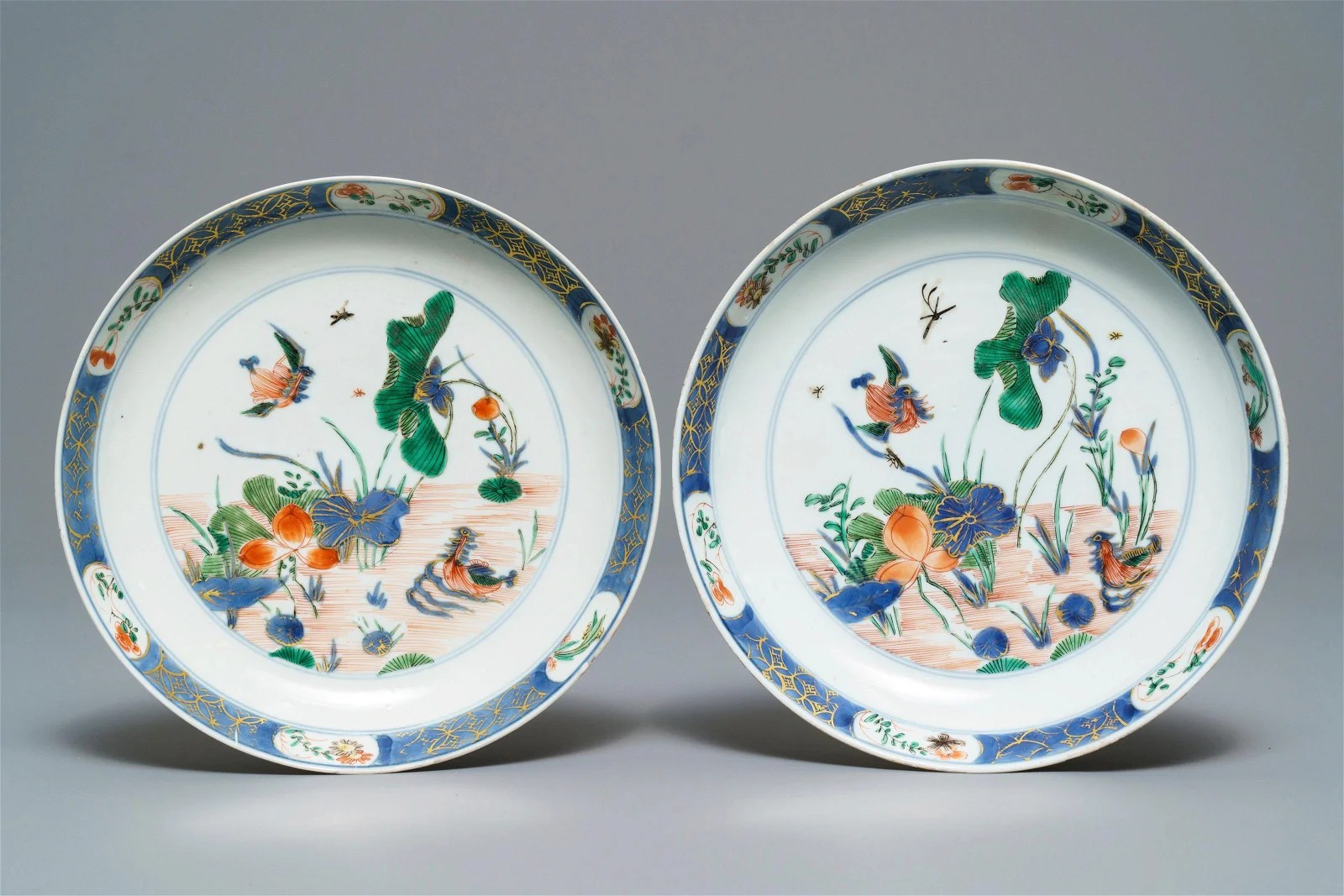 A pair of Chinese famille verte 'ducks in a lotus pond'