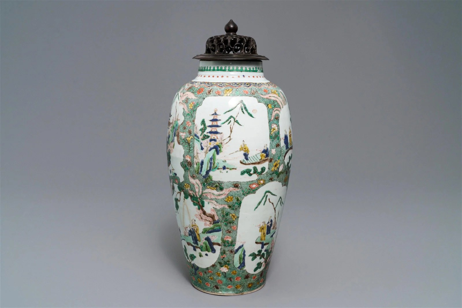 A Chinese famille verte vase with landscape medallions,