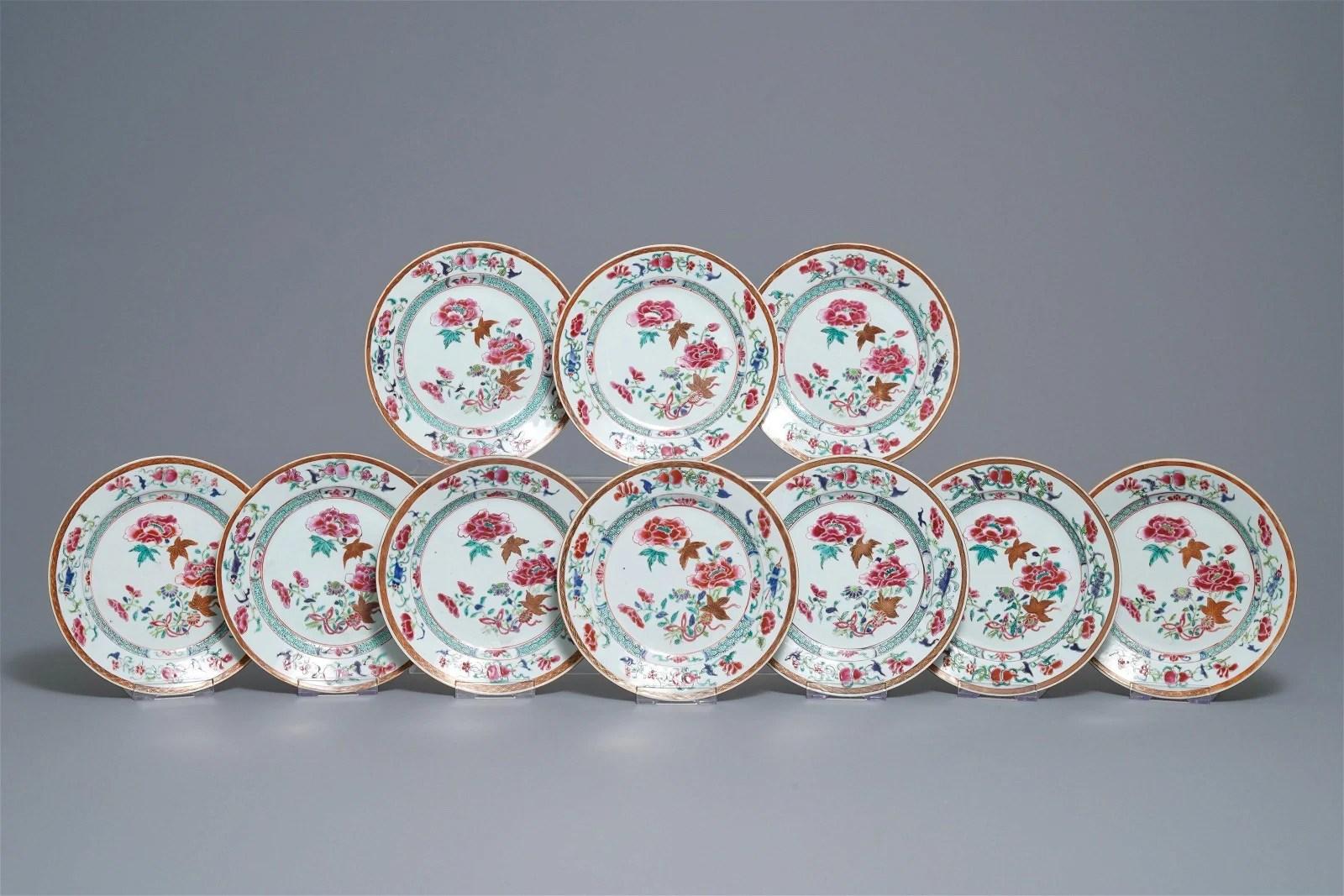 Ten Chinese famille rose 'peony' plates, Qianlong