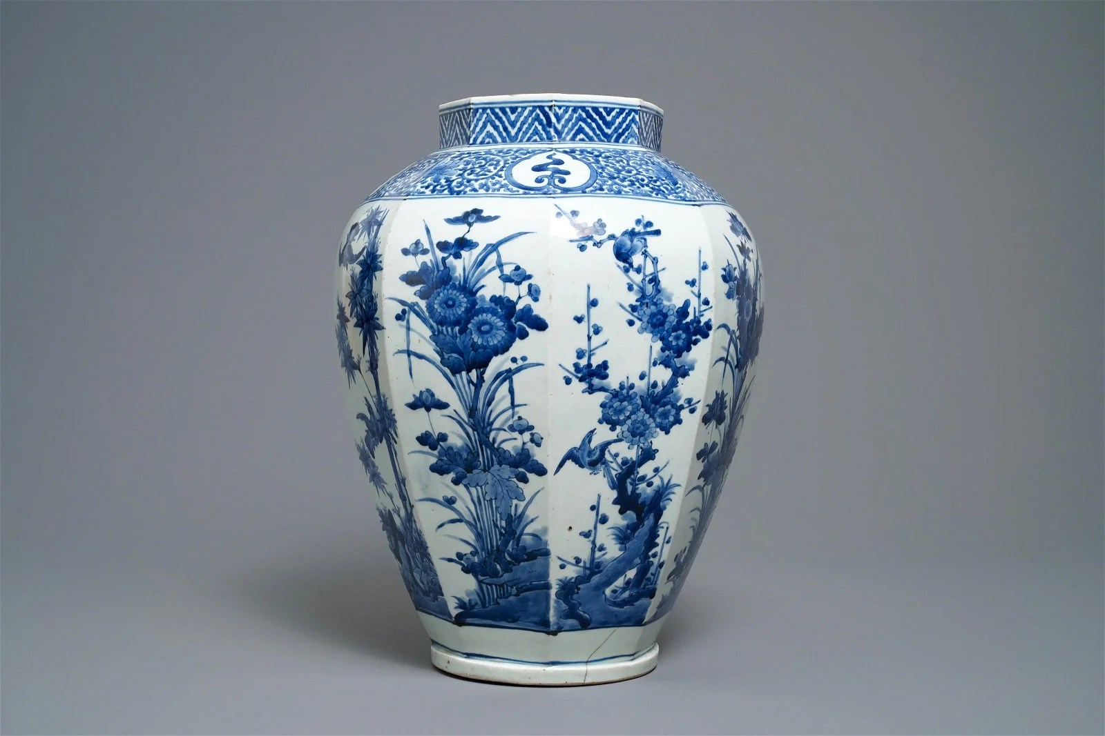 A Japanese blue and white octagonal Arita vase with