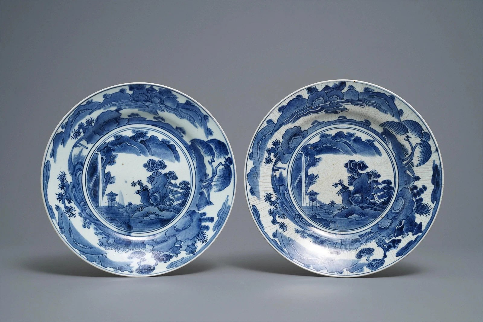 A pair of Japanese blue and white dishes with