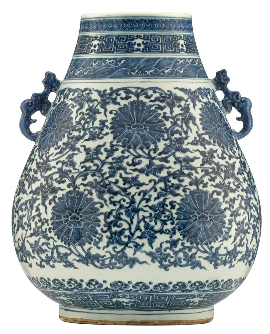 A Chinese blue and white archaistic hu-vase, the