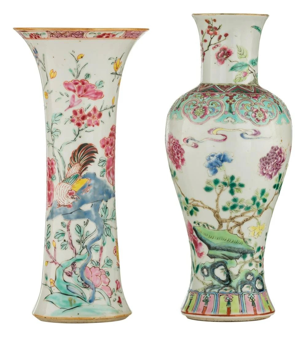 Two Chinese famille rose vases, decorated with birds