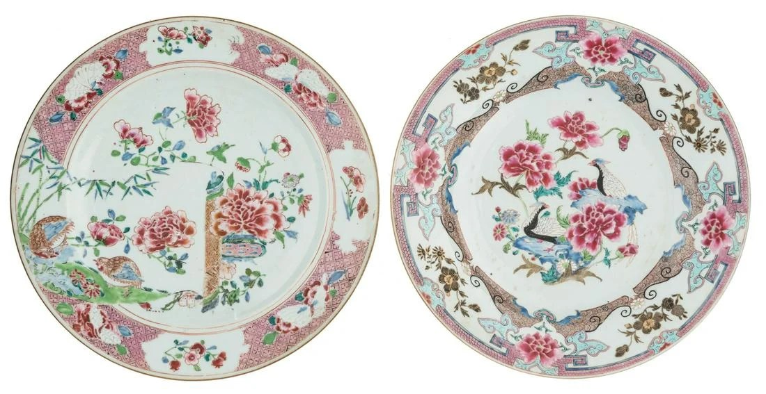 Two Chinese famille rose and gilt plates, decorated