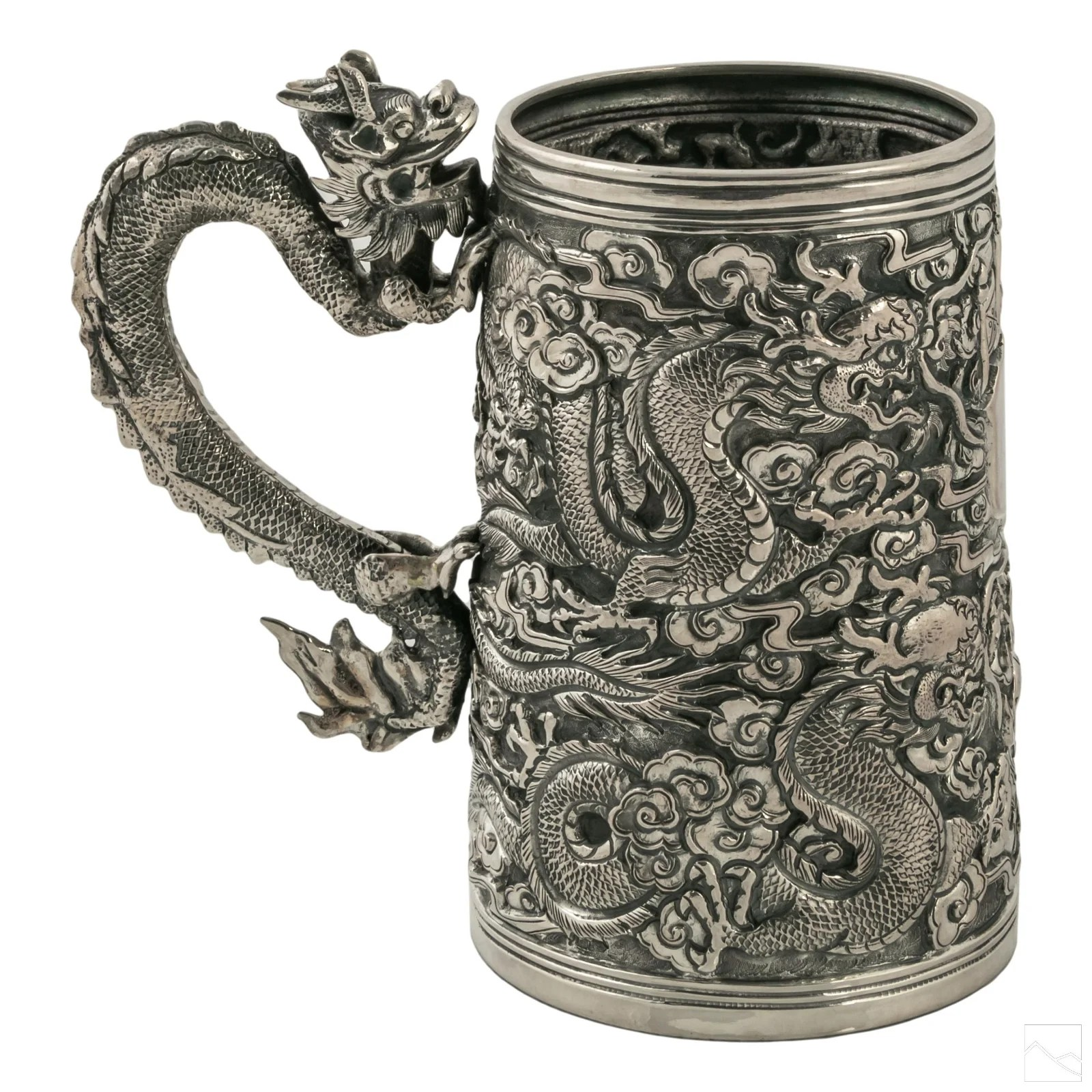 Chinese Silver Relief Dragon Cloud Mug Vessel 553g