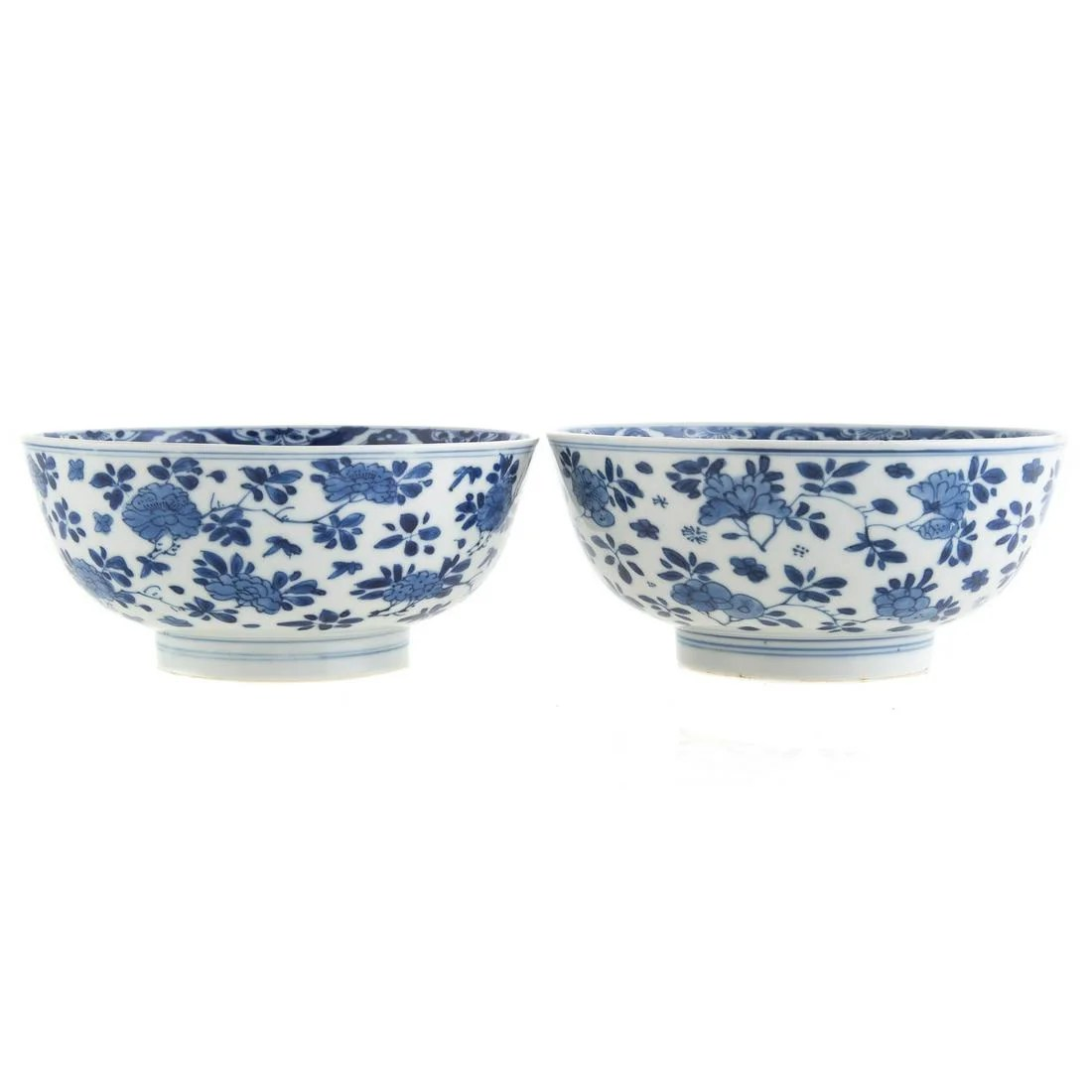 Pair of Chinese Kangxi Blue and White Porcelain Bowls
