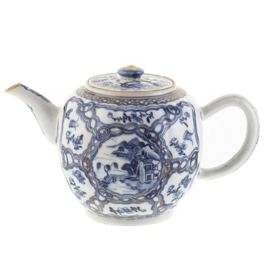 Chinese Export Blue/White Globular Teapot