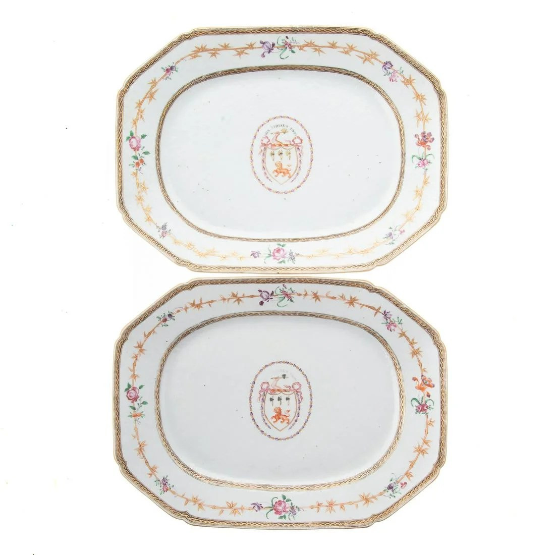 Pair Chinese Armorial Platters