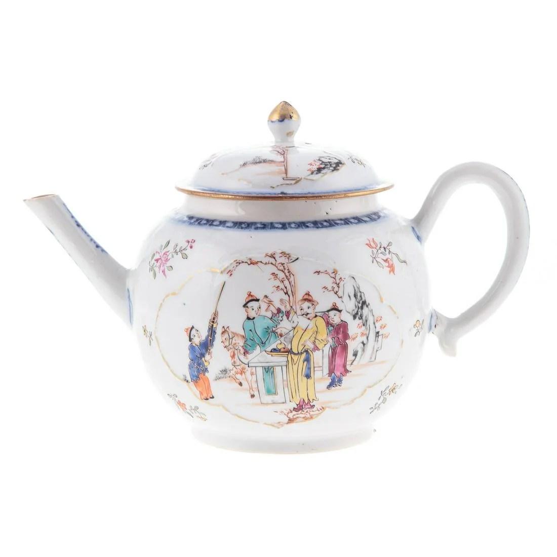 Chinese Export Mandarin Globular Teapot