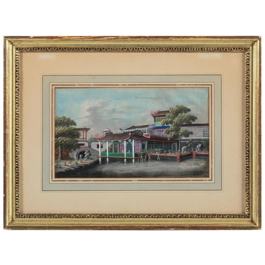 Chinese Export Gouache of Pagoda on River