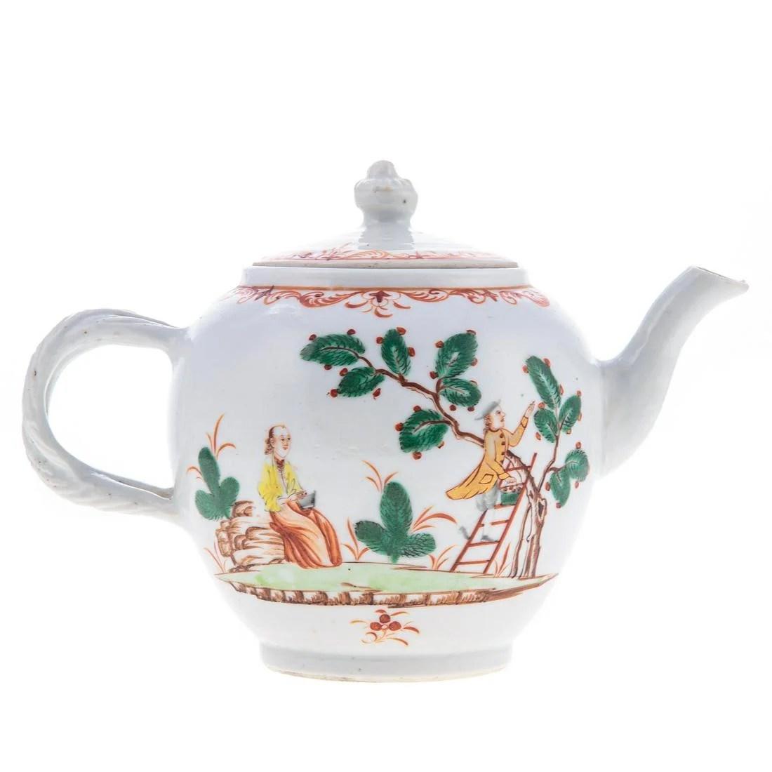 Rare Chinese Export Cherry Pickers Teapot
