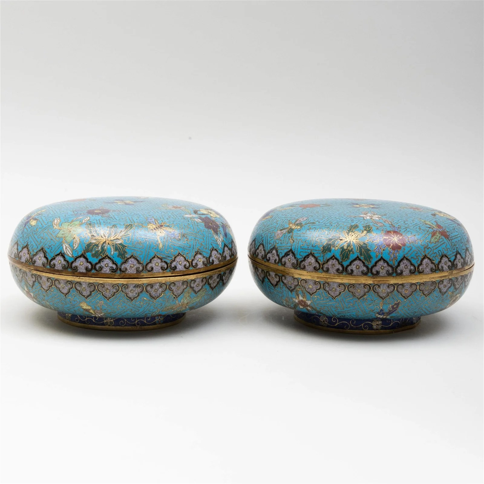 Pair of Chinese Cloisonne Circular Boxes and Covers